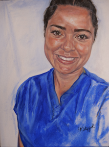 Portrait Painter, Artist Hannah Ostapjuk, paints Bluebell NHS Hero